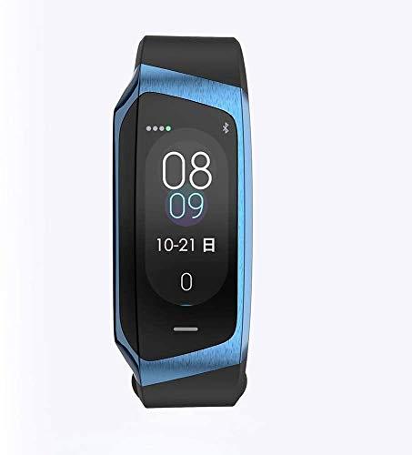 E18 Smart-Armband Herzfrequenz-Test Blut Pressure Test Sport-Armband-Farbbildschirm Übung Spur Schritt Wasserdicht aycpg (Color : Blue)