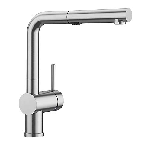 BLANCO Satin Nickel 441404 LINUS Pull-Out Dual Spray Kitchen Faucet, 2.2 GPM