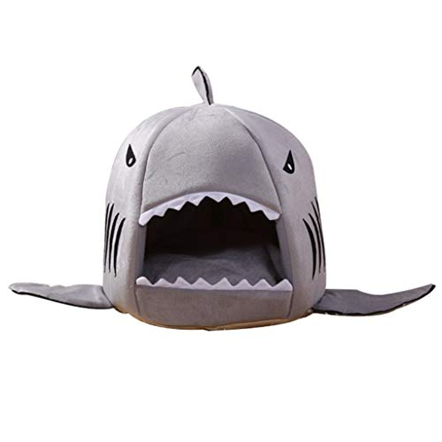 dongyu Pet Supplies Warm Soft Pet House Sleeping Bag Shark Kennel Cat Bed Cat House Gray (Size : Small)