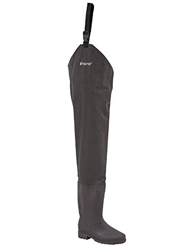 FROGG TOGGS Rana II Bootfoot PVC Hip Wader, Cleated, Brown, Size 8 (2716249)
