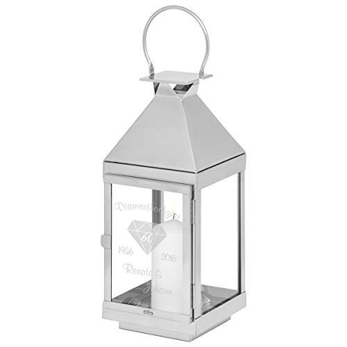 Cilio Lantaarn diamantbruiloft met gravure: zilverkleurige glazen lantaarn, gepersonaliseerd met naam en datum in vier maten, cadeau-idee voor de 60e Huwelijksdag 45 cm zilver