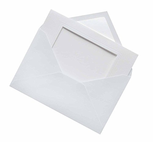 folia 110300 - Passepartouts genarbt mit rechteckiger Stanzung, ca. 11 x 18 cm, 3 Karten (220 g/qm) und Kuverts, weiß - ideal für Einladungen, Glückwunsch- oder Grußkarten