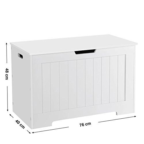 VASAGLE Spielzeugkiste Truhe Bank Stauraum Sitztruhe Sitzbank Aufbewahrungstruhe mit großer Kapazität weiß , Holz, 76 x 48 x 40 cm (B x H x T) LHS11WT - 2