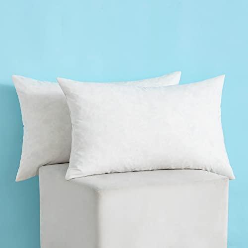 MIULEE 2 Piezas Relleno de Almohada Plumas de Pato Mullido Suave para Dormir Transpirable Almohada Estandar para Adultos Cama Habitación Dormitorio 50x50cm 1000g Blanco