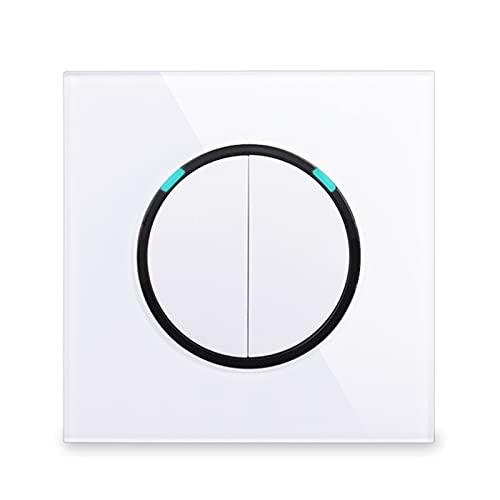 HLY-CASE Panel de Vidrio 2 Gang 2 Way Random Haga Clic en/desactivado Pase a través del Interruptor de la luz de Pared conmutada con indicador LED Serie R11 Diseño Elegante