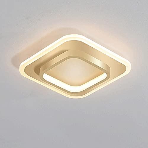 Wmdtr Luz Cuadrada LED Luz de Techo Creativo Pasillo de Oro Luz Moderna Minimalista Lámpara de Techo Acrílico + Luces de Techo Metal Duracion Decorada, Sala de Estar, Restaurante, Hotel, Club