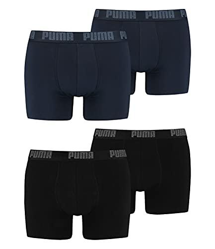 PUMA Herren Boxershorts Unterhosen 100004386 4er Pack, Wäschegröße:L, Artikel:-230 Black/Black + 321 Navy