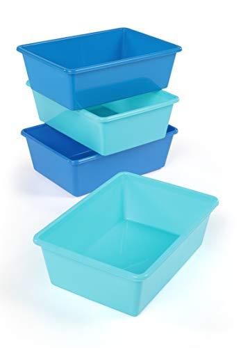 Humble Crew Large Plastic Storage Bins, Set of 4, Dark Blue/Light Blue