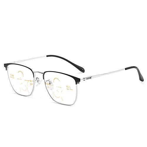 CAOXN Gafas De Lectura Progresivas De Enfoque Múltiple, Anti-Luz Azul Y Fatiga Ocular, Gafas Ópticas para Presbicia E Hipermetropía,Plata,+3.00