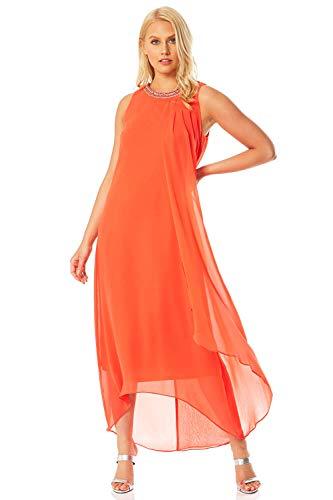 Roman Originals - Vestido de mujer con flores, cuello alto, línea A, sin mangas, vestido de mujer, para fiestas, noche, cenas, fechas, ocasiones especiales