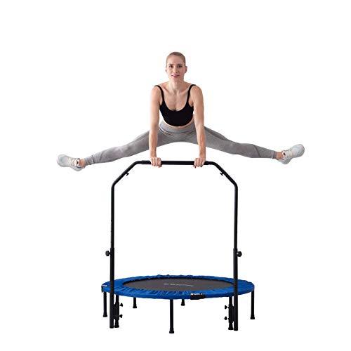 Zenph Fitness-Trampolin Ø 122cm, Faltbar Trampolin mit dem verstellbaren Handlauf, Mute Umweltschutz,Indoor/Outdoor Cardio Sport für Kinder und Erwachsene, Maximale Belastung Beträgt 150 kg