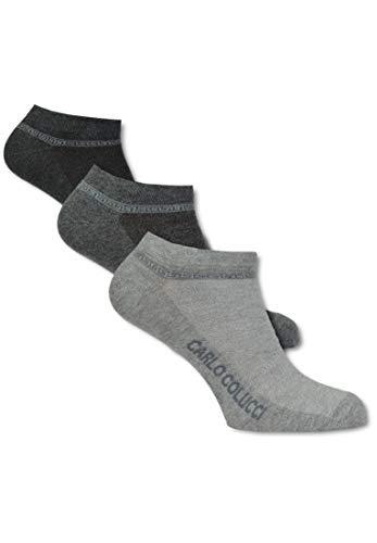 Carlo Colucci Hochwertiger Baumwollsneaker AMALFI 3er Pack, Grau Grau/Anthrazit 39-42