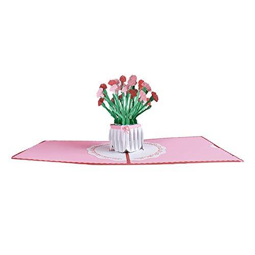 XIAOQI Pop-Up Karte Blumen - 3D Blumenkarte für Freundin oder Mutter (Ostern, Geburtstagskarte, Runder Geburtstag, Bleib Gesund) - Popup Glückwunschkarte mit Blumenstrauß