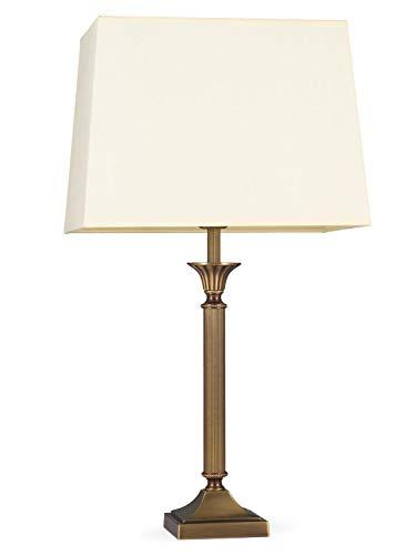 Helios Leuchten 403776/6 Vintage Lampe Leuchte   klassische Jugendstil Tischleuchte Tischlampe   Retro Schreibtischlampe echt Messing antik Altmessing   Lampenschirm Rechteck gelb   1xE14