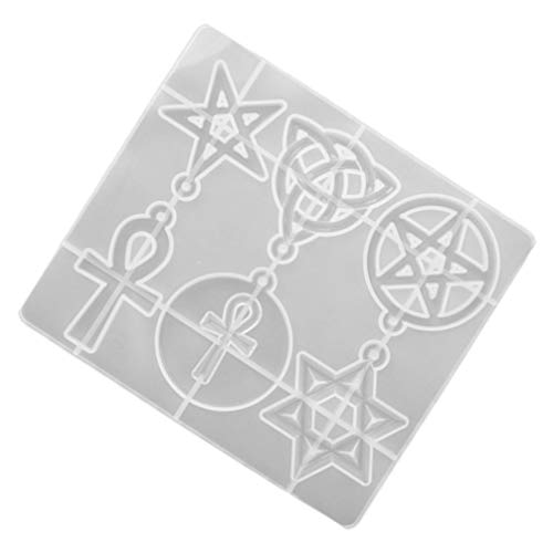 HEALLILY Silicone Resin Molds Pentagram, Star of David, Celtic Trinity Knot, Ankh Cross Epoxy Mold for Making Earrings Resin Pendants DIY Decoration