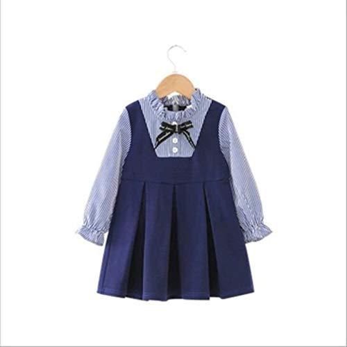 Lindo Vestido de niñas Encantador a Rayas Falso Dos niños pequeños versión Coreana Vestido de Princesa otoño Falda de niña Negro y Azul, Uniquelove