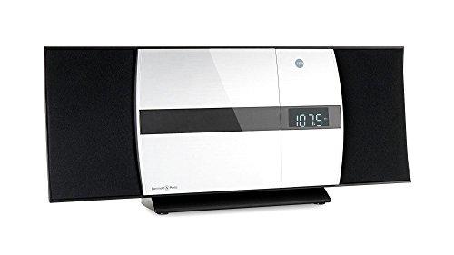 Bennett & Ross Ålesund Vertikal Stereoanlage - HiFi Microanlage mit CD-Player, MP3, UKW-Funktion, USB und Bluetooth mit NFC - Standaufstellung oder Wandmontage - Fernbedienung - Silber
