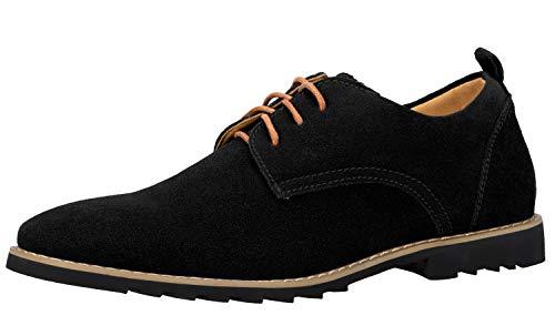 iloveSIA Schnürhalbschuhe Schwarz Herren Klassischer Business Schuhe aus Wildleder mit Gummisohle Anzugschuhe Lederschuhe Derbys 41 EU - US8.5