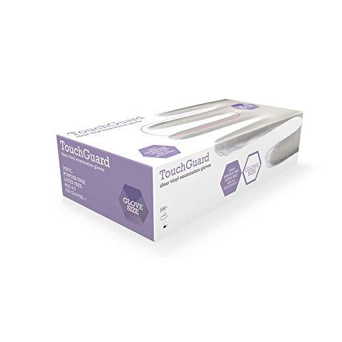 TouchGuard Einweg-Vinylhandschuhe aus Klarem Vinyl, Puderfrei, Schachtel mit 100 Stück, Größe M