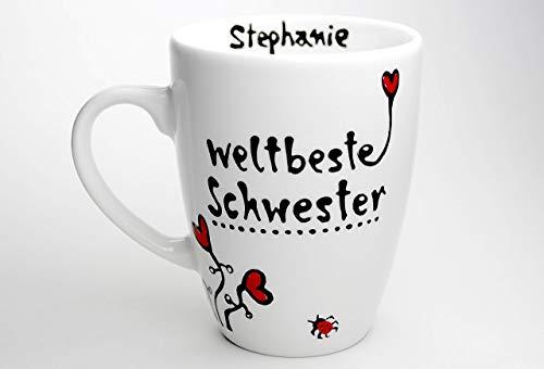 Geschenk für Schwester, weltbeste Schwester, Tassengeschenk, Schwestertasse, personalisierbar