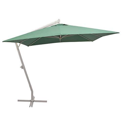 Festnight Zweefparasol met aluminium paal Tuin Parasol Paraplu Buiten Zonnescherm voor Patio/Strand/Zwembad Parasols UV50 + 300x300 cm groen