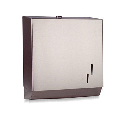 DISPENSADOR INOX de Toallas de papel para Manos Zig Zag para secado de manos fabricado en Acero de calidad para baños Públicos con cerradura y llave de seguridad, ACABADO SATINADO ANTIHUELLAS