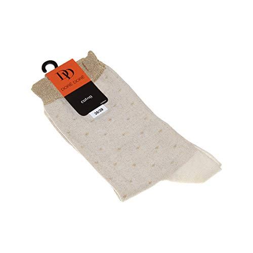 Dore Dore Socke mittelhoch - 1 paar - verstärkte Ferse - Verstarkte zehen - Flachnaht - ohne Frotte - Mit Tupfen - Coton - Ecru - DD - 36/39