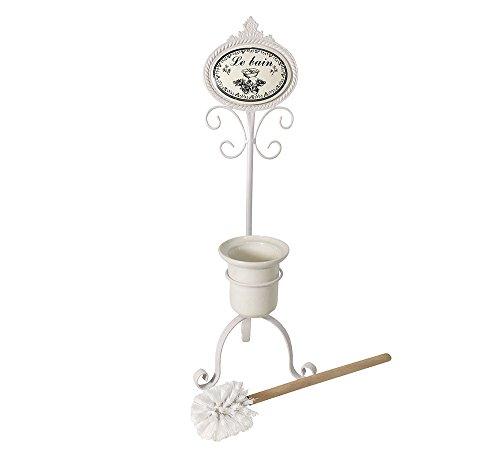 Zeitzone LE BAIN - Portascopino in ferro con spazzola, stile nostalgico, colore: Bianco