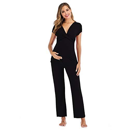 OCCIENTEC Conjunto de pijama de maternidad ultra suave para mujer, ropa de dormir para lactancia materna, 2 piezas, ropa de dormir para el hospital