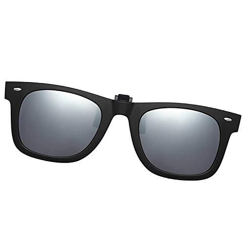 Polarized Clip-on Sunglasses Unisex Anti-Glare Driving Sunglasses With Flip Up for Prescription Glasses (2140 SILVER)