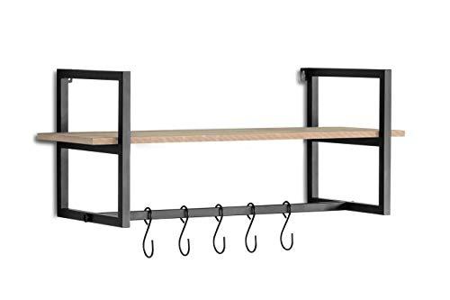 LIFA LIVING - Juego de 3 percheros de pared con estante, 3 estanterías flotantes vintage, con suspensión, con 5 ganchos, madera MDF y metal, color negro