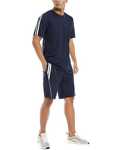 Aibrou Conjunto de Chándal Corto Raya Hombre,Verano Camiseta Manga y Pantalon Transpirable y de Secado rápido Ideal para Gym Correr Trotar Caminar