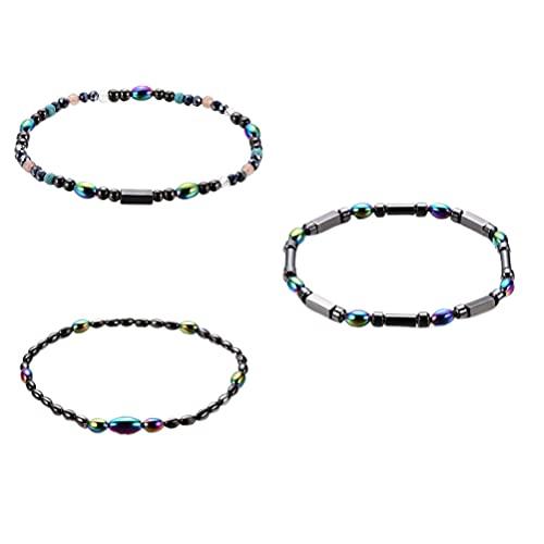 Healifty 3 pulseras de tobillo Polígono rebordear cadena de joyería para mujeres y niñas