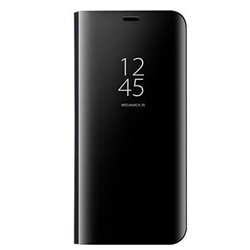 KERUN Hülle Für Oppo Reno 4 Pro 5G, ultradünnen Spiegel für mit Standfunktion flip case, hülle Tasche Flip Schutzhülle für Oppo Reno 4 Pro 5G(schwarz)