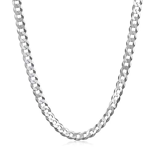 Amberta Unisex 925 Sterling Silver Flat Curb Chain Necklace: Width 0.55 cm Length 55 cm/22 in