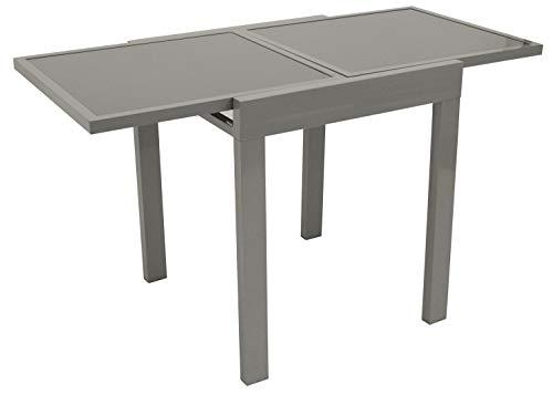 DEGAMO Balkontisch Amalfi aus Aluminium grau und Glas dunkelgrau 65x65cm, ausziehbar auf 130cm, Höhe 75cm, wetterfest