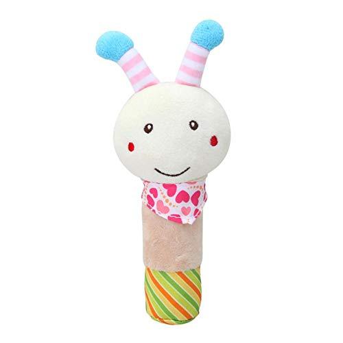 Sonajero de dibujos animados con sonido divertido para bebés, niños búho, conejo, abeja, forma, mano, balancín, juguete, peluche, juguete, perrito