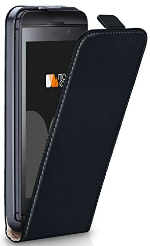moex Flip Case für BlackBerry Z30 - Hülle klappbar, 360 Grad Klapphülle aus Vegan Leder, Handytasche mit vertikaler Klappe, magnetisch - Schwarz
