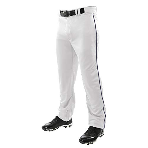 Champro Sports Adult Triple Crown Open Bottom Pants, White, Navy Piping, 4X-Large