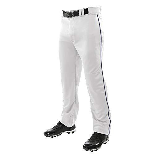 Champro Sporthose für Erwachsene, mit 3 Kronen, offener Boden, weiß, marineblaue Paspelierung, Größe XL