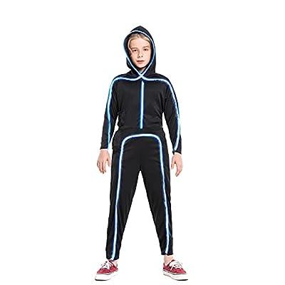 HSCTEK Led Light up Stick Figure Costume for Kids, Halloween Stick Man Costume for Boys Girls(Blue,12-14) from