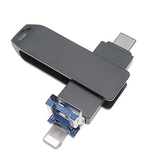 Chiavetta USB 3.0 compatibile con iPhone/iPad/iOS Memoria esterna 3 in 1 Memory Storage Pen Drive con Tipo-C per Android/PC (256 GB, nero)