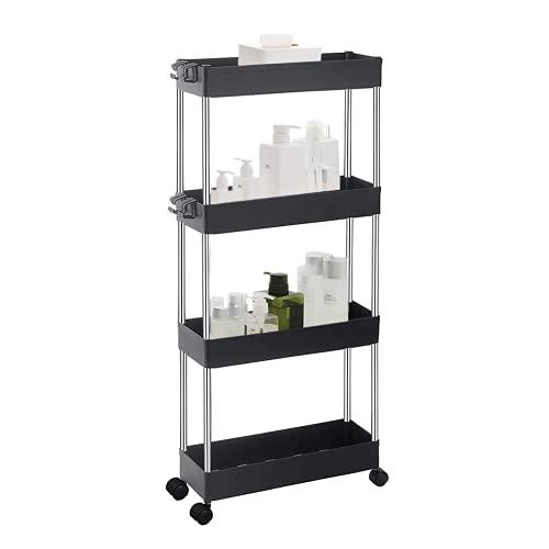 ArderLive Slim Storage Cart,4 Tier Storage Rolling Cart Racks Mobile Shelving Unit Organizer for...