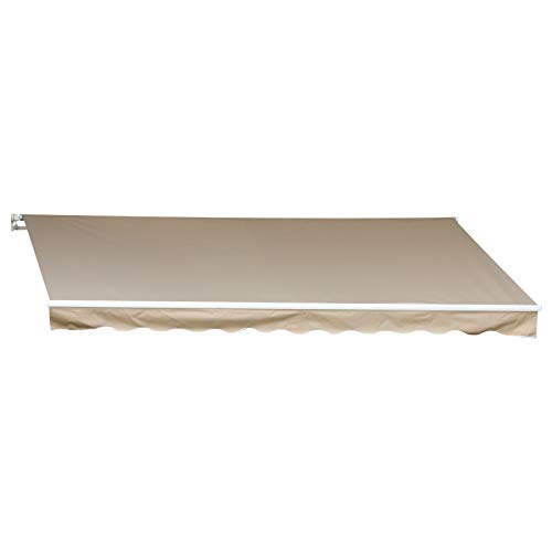 Outsunny 12' x 10' Manual Retractable Awning Outdoor Sunshade Shelter for Patio, Balcony, Yard, with Adjustable & Versatile Design, Beige