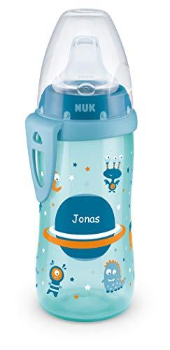 NUK Active Cup mit persönlicher Gravur, mit Soft-Trinktülle aus Silikon, auslaufsicher, BPA frei, ab 12 Monaten, 300ml, blau