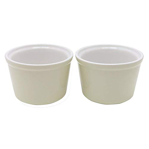Lodge Stoneware Set of 2 White Ramekins: 0.18L 6oz 8cm Diameter Ramekin Bowls Ideal for Souffles and as Dessert and Dip Dishes: Oven Proof, Microwave Safe, Freezer Safe and Dishwasher Safe