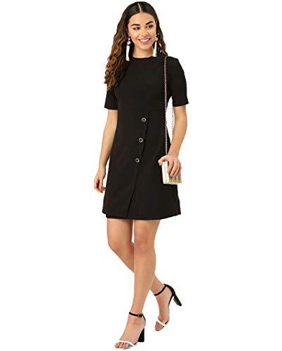 J B Fashion Solid Lycra Fabric Women Dress with Half Sleeves for Fancy Dress,Stylish Dress, Casual Wear Dress for Women/Girls Dress (Large) Black