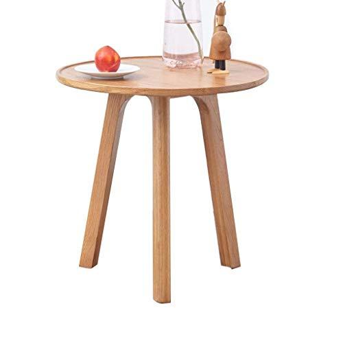 ZBM-ZBM Tavolino in Legno Massello, Tavolino in Rovere Sbiancato da Salotto Tavolino da Salotto in Legno Minimalista Moderno (Dimensioni: 45 × 45 × 50 Cm)