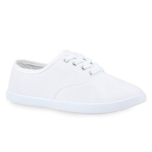 stiefelparadies Komfortable Freizeit Damen Low Sneakers Basic Schnürer Turnschuh Schuhe 112899 Weiss Brito 39 Flandell