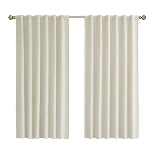Ivroy Blackout Window Curtains for Bedroom, Energy Saving Linen Textured Embossed Back Tab/Rod Pocket Long Drapes for Sliding Glass Door and Patio, 52x108, 2 Panels